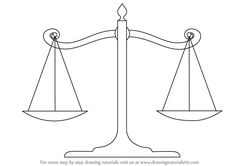 Learn How to Draw Scales of Justice (Everyday Objects) Step by Step : Drawing Tutorials