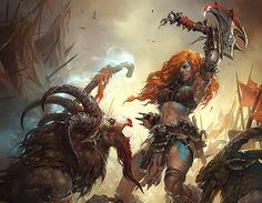 Laurel Austin ldaustin illustrations fantasy games Blizzard Diablo Starcraft World of Warcraft conceptual artist Fantasy Warrior, Dark Fantasy Art, Fantasy Girl, Fantasy Artwork, Cg Artwork, Desenhos Clash Royale, Barbarian Woman, Sword And Sorcery, Red Sonja