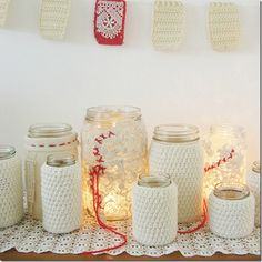 Jar sweaters. Use any jar. Shows how to make with old sweaters, old doilies, and a crocheted version.