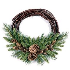 National Tree Pine Cone Grapevine Wreath, 16-Inch