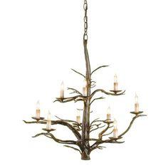 Currey & Company 9327 9 Light Treetop Chandelier, Old Iron - Lighting Universe