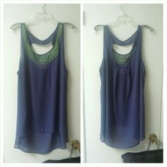 Sheer tank Green embroidered neckline, cutout on back torrid  Tops Tank Tops