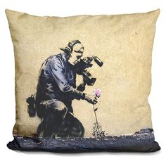 Lilipi Cameraman & Flowerand Flower Decorative Accent Throw Pillow
