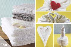 Kennen Sie diese hübsch gefalteten Handtücher im Hotel? Wir zeigen Ihnen eine Auswahl kreativer Techniken, wie Sie daheim Handtücher falten können.
