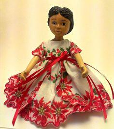 #Hitty $21.00 OOAK CUSTOM Hitty Vintage Christmas Hanky Dress with Poinsettias  FREE SHIPPING!