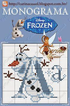 Resultado de imagen de abecedario frozen punto cruz