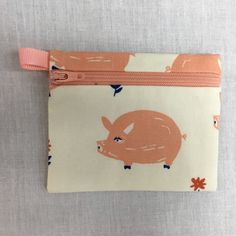 Cute Pig Zipper Coin Purse, Card Holder Wallet, Earbud Pouch, iPod Case by NancyPKdesigns on Etsy