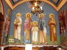 Themis Petrou - Τhree Prelates Chapel (athens, Greece) - Find Creatives Saint Anthony Church, Church Interior Design, Athens Greece, Holi, Saints, Artists, Creative, Icons, Painting