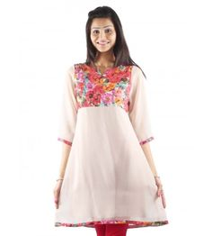 Bored of wearing full A-line kurtis? Checkout this semi Anarkali Kurti by UPTOWNGALERIA that features a floral print on front yolk. The combination if the subtle beige with this pretty floral print adds elegance to the overall attire.  • Poly-georgette • Has Lining • Semi A-line • Knee-length • Round Neck • Knee length • Normal Wash