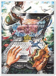 사고발상 Colorful Drawings, Art Drawings, Composition Art, Ap Studio Art, Poster Drawing, Art Competitions, Ap Art, Weird Art, Environmental Art