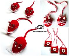 cats and mice Baba Marta, Yarn Dolls, March 1st, Felt Projects, Mice, Valentines Day, Creativity, Christmas Ornaments, Holiday Decor