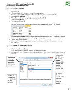 Proyecto Excel 2010 Estrategias Docentes Proyectos Computacion
