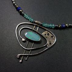 Orbital Opal Pendant in Sterling Silver by oblivionjewellery,
