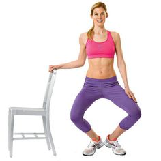 Try these 18 exercises that tighten and tone your legs from butt to ankles and everything in between, like this V-squat. | Health.com