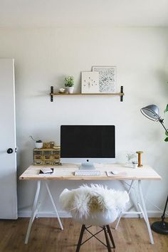 chair, desk + shelf