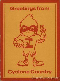 Continental Chrome Postcard Iowa State University Mascot - Cy, the Cardinal Ames, IA Iowa State Football, Nc State Basketball, Basketball Tickets, Iowa State Cyclones, Art Logo, Cardinals, State University, Baby, Retro