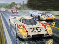 "Quick Vic by Roger Warrick ""Quick Vic"" is of course Vic Elford, at the controls of the mighty Porsche 917LH doing 240mph - in the rain - down the Mulsanne Straight at LeMans in 1970. Brian Redman in the Gulf-Porsche is shown alongside."