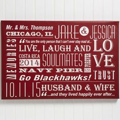 This is such a unique piece of wall art for any couple! You can choose from 5 colors and personalize it with all of your favorite things like vacation spots, inside jokes, concerts, special dates and whatever else you want! Great wedding or anniversary gift!