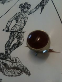 Ring in silver satin, Chevalier with carnelian ...