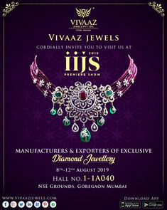 We cordially invite you at the IIJS 201 to explore a new collection of our Exclusive Diamond Jewellery . Diamond Necklace Set, Bold Necklace, Diamond Choker, Emerald Necklace, Diamond Pendant, Bead Jewellery, Diamond Jewellery, Beaded Jewelry, India Jewelry
