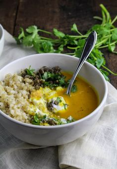 Healthy Dinner Ideas Easy To Make : Illustration Description Sweet Potato and Coconut Milk Soup with Brown Rice and Lentils {Katie at the Kitchen Door} Soup Recipes, Whole Food Recipes, Vegetarian Recipes, Cooking Recipes, Healthy Recipes, Healthy Soup, Healthy Desserts, Coconut Milk Soup, Coconut Rice