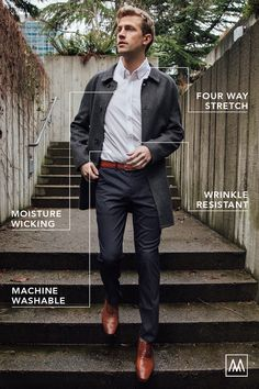 Performance dress shirts for men on the go. They require no ironing, no dry cleaning, and are machine washable. Shop the best damn dress shirt today. Men's Fashion Brands, Fashion Advice, Auto Test, Business Casual Attire For Men, Business Dress Code, Urban Fashion, Mens Fashion, Blazer Outfits Men, Formal Dresses For Men
