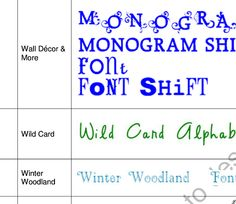 Obsessed With Sbooking Handy List Samples Of All The Cricut Fonts