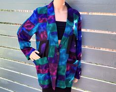 Excited to share this item from my #etsy shop: S 80s Box Cut Tunic Length Blazer Cardigan by Casual Corner Lightweight Abstract Geometric 80s 90s Deco Jewel Tones Oversized Miami Vice