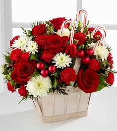 The FTD® Candy Cane Lane® Bouquet - BASKET INCLUDED- Deluxe