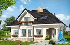 Haus in der Avocado - Sicht 1 - # Hausdesign - haus design - Model House Plan, House Plans, Style At Home, Casas Country, House Construction Plan, Small Cottage Homes, House Design Pictures, Modern Bungalow House, Prefabricated Houses