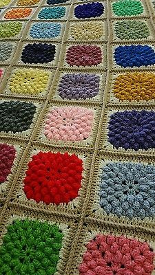 NEW Handmade crochet Afghan Throw Blanket! 78 x 61 popcorn stitch, multi color