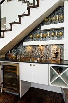 Wine Bar Under Stairs Design, Pictures, Remodel, Decor and Ideas file it under top priority Bar Under Stairs, Open Basement Stairs, Kitchen Under Stairs, Space Under Stairs, Open Stairs, Floating Stairs, Basement Ceilings, Basement Bars, Basement Storage