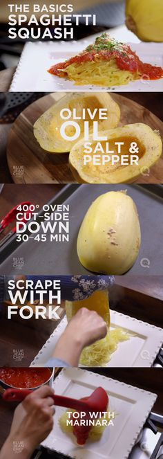 Spaghetti Squash is easy to make! Here's a recipe you can make in the oven, the microwave, and a pressure cooker.Spaghetti Squash is easy to make! Here's a recipe you can make in the oven, the microwave, and a pressure cooker. Veggie Dishes, Vegetable Recipes, Vegetarian Recipes, Oven Dishes, Vegetarian Dinners, I Love Food, Good Food, Yummy Food, Tasty