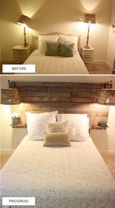 DIY: Wood Headboard // This will go great with my new room! Rustic Headboard Diy, Headboard Ideas, Rustic Headboards, Headboard With Shelves, Diy Headboard With Lights, Headboard Pallet, Reclaimed Wood Headboard, Home Bedroom, Bedroom Decor