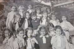 Murree Pakistan : Taken near the sports ground at St Deny's School, Murree in the 1940's. Bluebirds are the equivalent of the English Brownies. Back row (left to right): Gillian Menzies (nee Brown), Shirley Cotton (nee Dunham), rest of names unknown Bottom row (left to right): Names not known -Families in British India Society Image Gallery. ps.(love this photo, my sister & cousins went to this great school ).