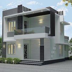 Modern Exterior House Designs, Best Modern House Design, Modern House Facades, Modern House Plans, Modern Bungalow Exterior, Duplex House Plans, House Outer Design, House Front Design, 3 Storey House Design