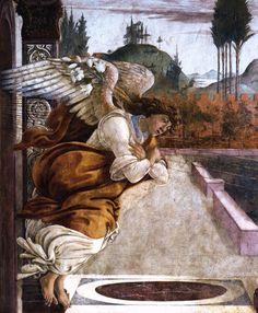 Sandro Botticelli - The Annunciation Tempera on panel 19 x 30 cm The Hyde Collection, Glens Falls Botticelli ~ Giorgio Vasari, Italian Renaissance Art, Renaissance Paintings, Italian Painters, Italian Artist, Fresco, Caravaggio, Angel Art, Tempera