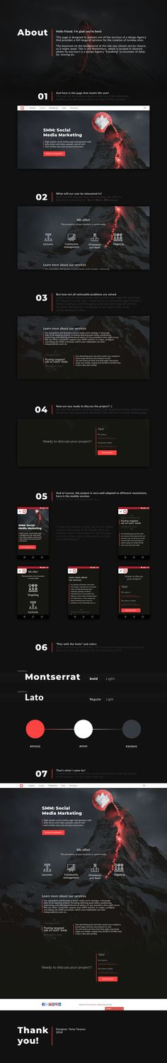 The site of one of the services design Agency. Head office in Switzerland, that's why mount Matterhorn was chosen. Each page of this website is made in a different style. The site itself consists of portfolio and description of services. All are very creative. I'll load other pages later