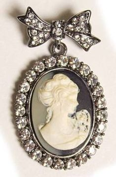 Cameo Jewelry Crystal Brooch