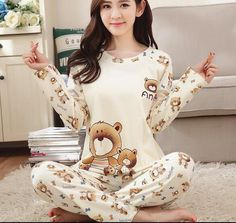 Spring Autumn 20 Style Thin Carton Generation Women Long Sleepwear Suit  Home Women Gift Female Sleep 69ed26a30