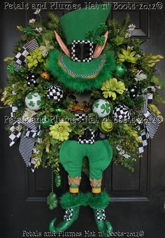 St Patricks Day Leprechaun Wreath by Petals & Plumes