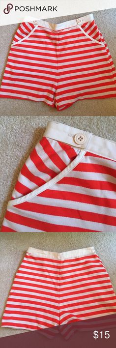 NWOT Urban Outfitters high-waisted shorts Urban Outfitters size 2 red and cream high-waisted shorts. Never worn!! Perfect for the beach or day in the sun. Urban Outfitters Shorts