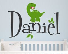 Children Wall Decal Baby Dinosaur with Name Vinyl decal by Zapoart, $34.00