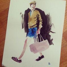 A men's fashion watercolor illustration