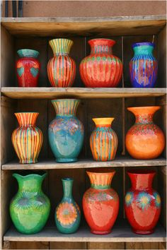 Hacienda Style - Recycled Vases Love these vivid colours! Ceramic Pottery, Pottery Art, Ceramic Art, Pottery Ideas, Glazed Pottery, Painted Pottery, Slab Pottery, Thrown Pottery, Pottery Studio