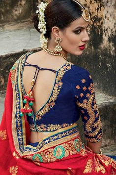 Orange and Blue Jacquard Saree with Embroidery Work - 11 Blouse Back Neck Designs, Saree Blouse Designs, Blouse Patterns, Indian Dresses, Indian Outfits, Latest Saree Blouse, Indian Blouse, Indian Wear, Simple Sarees