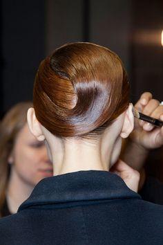 Slick wrapped hairstyle at Ter et Bantine Fall 2014 - Runway Beauty at Paris Fashion Week #PFW