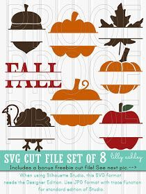 Pumpkin SVG Fall svg Files Set of 8 (+freebie) cut files with svg/png/jpg Variety Set great for names or Fall phrases turkey svg pumpkin svg Cricut Fonts, Cricut Vinyl, Vinyl Crafts, Vinyl Projects, Cricut Tutorials, Cricut Ideas, Cricut Craft Room, Cricut Explore Air, Circuit Projects