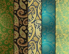 Digital Floral Gold Paisley Paper Pack 20 от AlphabetStore на Etsy
