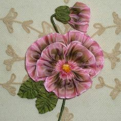 Pink and Green Ombre French Ribbon Pansy